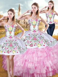 Organza and Taffeta Sleeveless Floor Length Quinceanera Gowns and Embroidery and Ruffled Layers