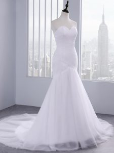 Popular White Sweetheart Lace Up Ruching Wedding Dresses Court Train Sleeveless
