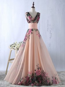 Glittering V-neck Sleeveless Prom Gown Floor Length Ruching Peach Printed