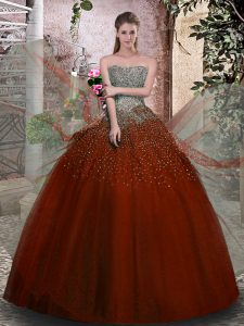Glamorous Ball Gowns Quinceanera Dress Rust Red Strapless Tulle Sleeveless Floor Length Lace Up