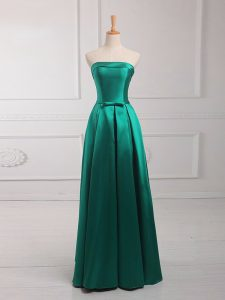 Sleeveless Satin Floor Length Lace Up Dama Dress in Dark Green with Belt