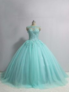 Charming Sleeveless Floor Length Appliques Lace Up Quince Ball Gowns with Aqua Blue