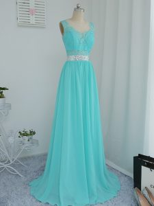 Aqua Blue Chiffon Side Zipper Quinceanera Court Dresses Sleeveless Sweep Train Beading and Lace