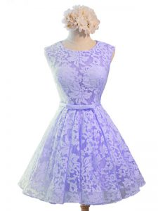 Lavender A-line Belt Dama Dress for Quinceanera Lace Up Lace Sleeveless Knee Length