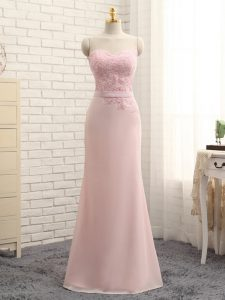 Fantastic Chiffon Sleeveless Floor Length Dama Dress for Quinceanera and Lace