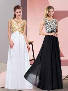 Chiffon Scoop Sleeveless Zipper Appliques Prom Evening Gown in White