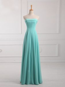Ruching Quinceanera Court Dresses Aqua Blue Lace Up Sleeveless Floor Length