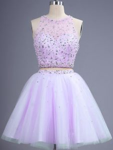 Flirting Lavender Two Pieces Beading Wedding Guest Dresses Lace Up Tulle Sleeveless Knee Length