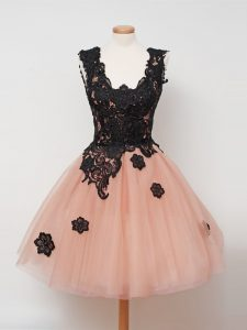 Peach Ball Gowns Tulle Straps Sleeveless Lace Knee Length Zipper Dama Dress