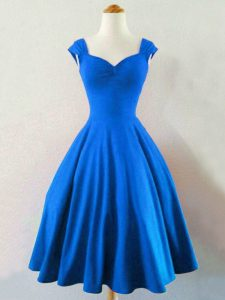 Knee Length A-line Sleeveless Blue Bridesmaid Gown Lace Up