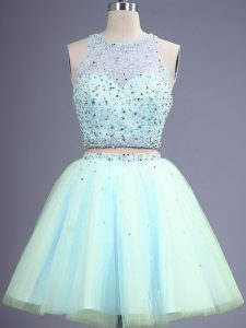 Best Selling Knee Length Zipper Damas Dress Light Blue for Prom and Party and Wedding Party with Beading