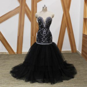 Luxury Black Prom Party Dress Tulle Brush Train Sleeveless Beading