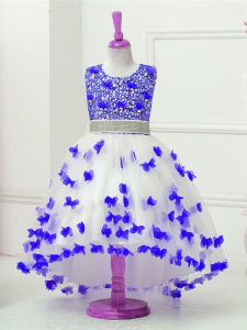 Sleeveless Appliques and Sequins Zipper Toddler Flower Girl Dress