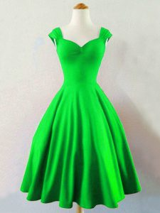 A-line Ruching Vestidos de Damas Lace Up Taffeta Sleeveless Knee Length