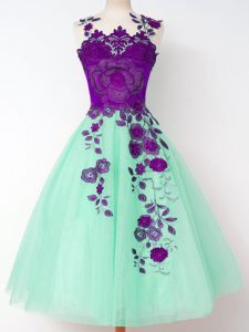 Stylish Tulle Sleeveless Knee Length Wedding Party Dress and Appliques