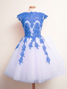 Blue And White Sleeveless Appliques Knee Length Quinceanera Dama Dress