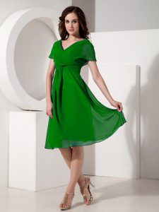 Green Short Sleeves Chiffon Zipper Mother Dresses for Prom and Party