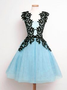 Hot Sale Tulle Sleeveless Knee Length Dama Dress for Quinceanera and Lace