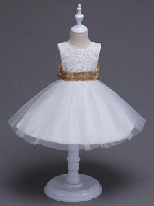 Knee Length White Flower Girl Dresses for Less Scoop Sleeveless Zipper