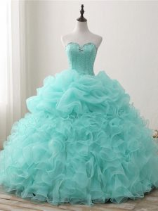 Sleeveless Beading and Ruffles and Pick Ups Lace Up 15 Quinceanera Dress