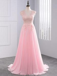 Baby Pink Empire Chiffon V-neck Sleeveless Appliques Side Zipper Prom Dresses Brush Train