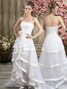 Comfortable Off The Shoulder Sleeveless Tulle Wedding Gowns Ruffled Layers and Belt Sweep Train Backless