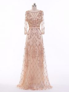 Vintage Long Sleeves Tulle Zipper Juniors Evening Dress in Peach with Beading