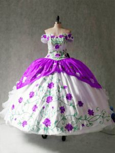 White And Purple Ball Gowns Embroidery and Ruffles 15th Birthday Dress Lace Up Organza and Taffeta Cap Sleeves Floor Length