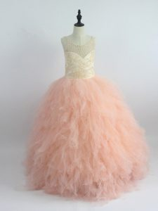 Scoop Sleeveless Zipper Little Girls Pageant Dress Wholesale Peach Tulle