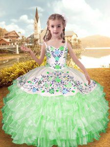 Discount Floor Length Apple Green Little Girls Pageant Gowns Straps Sleeveless Lace Up