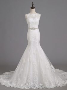 Deluxe Scoop Sleeveless Brush Train Lace Up Bridal Gown White Tulle