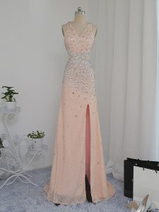 Peach V-neck Neckline Beading Prom Party Dress Sleeveless Backless
