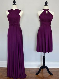 Eye-catching Floor Length Lace Up Quinceanera Dama Dress Purple for Prom and Wedding Party with Ruching