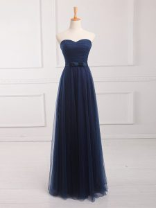 Dazzling Floor Length Navy Blue Bridesmaid Dress Sweetheart Sleeveless Lace Up