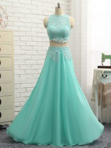 Superior Apple Green Two Pieces Appliques Custom Made Pageant Dress Side Zipper Chiffon Sleeveless Floor Length