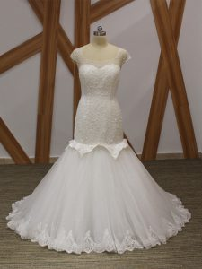 Lovely White Mermaid Tulle Scoop Cap Sleeves Beading and Appliques Lace Up Wedding Dresses Brush Train