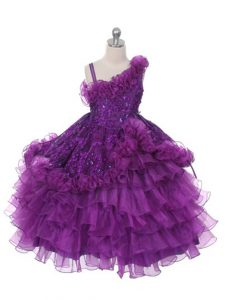 Purple Ball Gowns Organza Asymmetric Sleeveless Lace and Ruffles and Ruffled Layers Floor Length Lace Up Flower Girl Dress