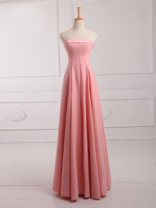 Pretty Floor Length Watermelon Red Quinceanera Court of Honor Dress Chiffon Sleeveless Ruching