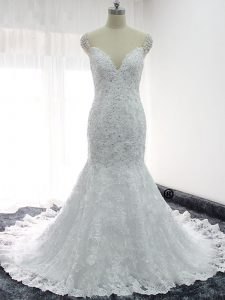 Sumptuous Mermaid Bridal Gown White Straps Lace Cap Sleeves Backless
