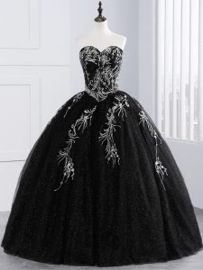 Colorful Black Sleeveless Embroidery Floor Length Quince Ball Gowns