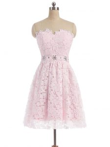 Most Popular Pink Zipper Homecoming Dress Beading and Lace Sleeveless Mini Length