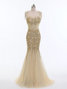 Glorious Tulle Scoop Sleeveless Brush Train Zipper Beading Evening Dresses in Champagne