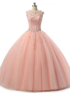 Sleeveless Tulle Floor Length Lace Up Sweet 16 Dress in Peach with Beading and Lace
