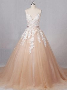 Eye-catching Champagne Ball Gowns Spaghetti Straps Sleeveless Tulle Brush Train Zipper Appliques Bridal Gown