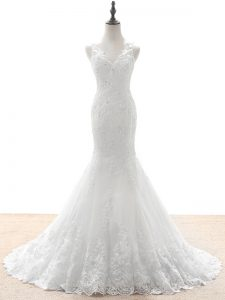 White Zipper V-neck Beading and Lace and Appliques Bridal Gown Tulle Sleeveless Brush Train