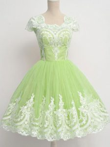 Latest Yellow Green Zipper Square Lace Quinceanera Dama Dress Tulle Cap Sleeves