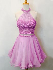 Two Pieces Court Dresses for Sweet 16 Lilac Halter Top Organza Sleeveless Knee Length Lace Up