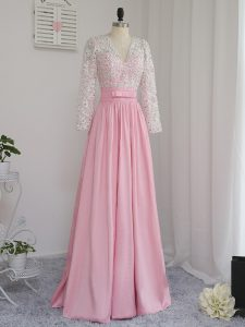 Beading Prom Dresses Baby Pink Zipper Long Sleeves Floor Length