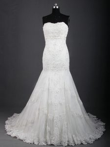 White Wedding Dress Wedding Party with Lace Sweetheart Sleeveless Brush Train Lace Up