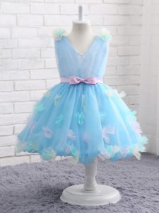 Exquisite Scoop Sleeveless Zipper Party Dress Wholesale Baby Blue Organza